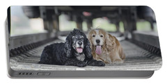 Dogs Lying Under A Train Wagon Portable Battery Charger
