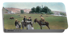 Donkey Ride Portable Battery Charger by Camille Pissarro