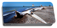 Driftwood At Erie Portable Battery Charger by Michelle Joseph-Long