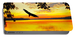 Portable Battery Charger featuring the photograph Eagle At Sunset by Randall Branham
