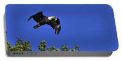 Portable Battery Charger featuring the photograph Eagle Over The Tree Top by Randall Branham