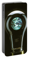Earth In Light Bulb  Portable Battery Charger