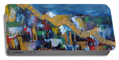 Portable Battery Charger featuring the painting Economic Meltdown by Judith Rhue