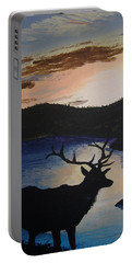 Portable Battery Charger featuring the painting Elk At Sunset by Norm Starks
