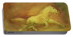 Portable Battery Charger featuring the painting Escaping The Flames by George Pedro