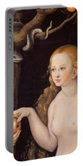 Eve Offering The Apple To Adam In The Garden Of Eden And The Serpent Portable Battery Charger by Cranach
