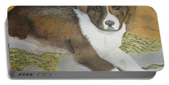 Portable Battery Charger featuring the painting Fat Puppy by Norm Starks