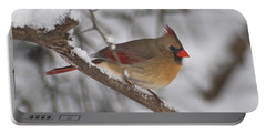 Female Northern Cardinal 4230 Pan Portable Battery Charger by Michael Peychich