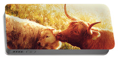 Fenella With Her Daughter. Highland Cows. Scotland Portable Battery Charger
