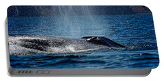 Portable Battery Charger featuring the photograph Fin Whale Spouting by Don Schwartz