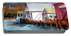 Fishing Boat And Dock Watercolor Portable Battery Charger by Chriss Pagani