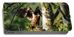 Portable Battery Charger featuring the photograph Fledgling Testing The Wind by Randall Branham