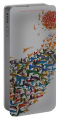 Portable Battery Charger featuring the painting Fleet Of Birds by Sonali Gangane