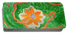 Portable Battery Charger featuring the painting Floating Flower by Sonali Gangane