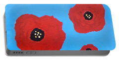 Portable Battery Charger featuring the painting Floating Flowers by Alys Caviness-Gober