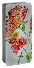Portable Battery Charger featuring the painting Florals by Sonali Gangane