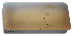 Footprints In The Sand Portable Battery Charger by Lyn Randle