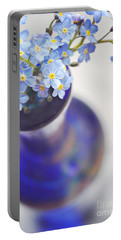 Forget Me Nots In Deep Blue Vase Portable Battery Charger by Lyn Randle
