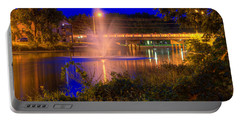 Fountain And Bridge At Night Portable Battery Charger
