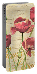 French Pink Poppies 2 Portable Battery Charger