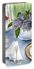 Portable Battery Charger featuring the painting Garden Tea Party by Clara Sue Beym