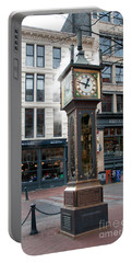 Portable Battery Charger featuring the digital art Gastown Steam Clock by Carol Ailles