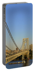 Portable Battery Charger featuring the photograph George Washington Bridge And Boat by Zawhaus Photography