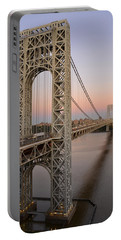 Portable Battery Charger featuring the photograph George Washington Bridge At Sunset by Zawhaus Photography