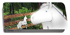Portable Battery Charger featuring the drawing Ghost Horse by George Pedro