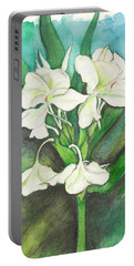 Portable Battery Charger featuring the painting Ginger Lilies by Carla Parris