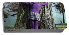 Girl Hugging Tree Trunk Portable Battery Charger