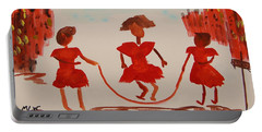 Girls In Red Dresses Jump Rope Portable Battery Charger by Mary Carol Williams