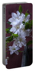 Glowing White Clematis Portable Battery Charger