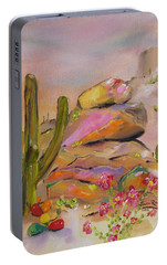 Portable Battery Charger featuring the painting Gold-lined Rocks by Judith Rhue