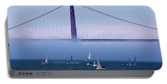 Portable Battery Charger featuring the photograph Golden Gate Windsurfers by Don Schwartz