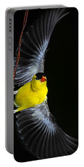 Portable Battery Charger featuring the photograph Goldfinch High Wire Act by Randall Branham