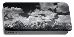 Grand Tetons Panorama In Monochrome Portable Battery Charger