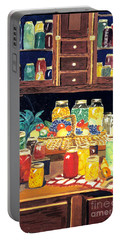 Portable Battery Charger featuring the painting Granny's Cupboard by Julie Brugh Riffey