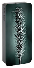 Grass Seedhead In Deep Cyan Portable Battery Charger
