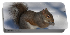 Gray Squirrel On Snow Portable Battery Charger