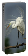 Great Egret Portable Battery Charger by Bob Christopher