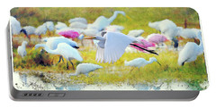 Portable Battery Charger featuring the photograph Great Egret Flying by Dan Friend