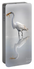 Portable Battery Charger featuring the photograph Great Egret With Lunch by Dan Friend