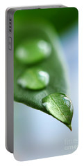 Green Leaf With Water Drops Portable Battery Charger