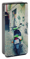 Green Vespa In Prague Portable Battery Charger
