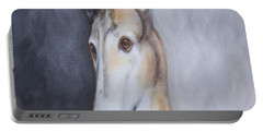 Portable Battery Charger featuring the painting Greyhound In Thought by George Pedro