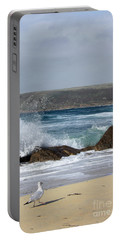 Gull On The Sand Portable Battery Charger by Linsey Williams