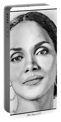Portable Battery Charger featuring the drawing Halle Berry In 2008 by J McCombie