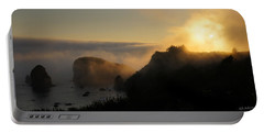 Harris Beach Sunset Panorama Portable Battery Charger by Mick Anderson