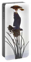 Portable Battery Charger featuring the photograph Hawk On Statue by Rebecca Margraf